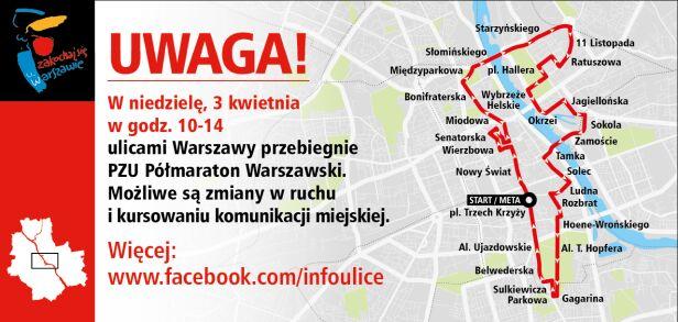 W niedzielę Półmaraton Warszawski infoulice.um.warszawa.pl
