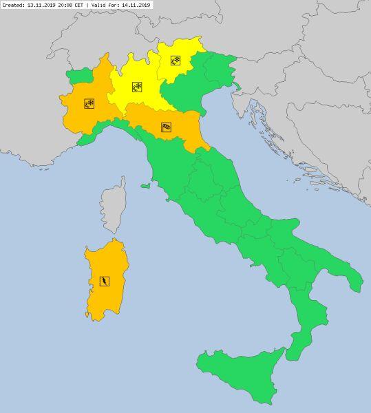 Ostrzeżenia meteorologiczne dla Włoch na czwartek (meteoalarm.eu)