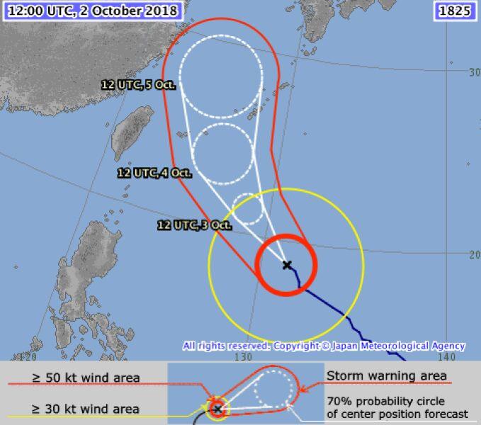 Prognozowana trasa przejścia tajfunu Kong-Rey - wtorek godz. 15.40 (JMA)