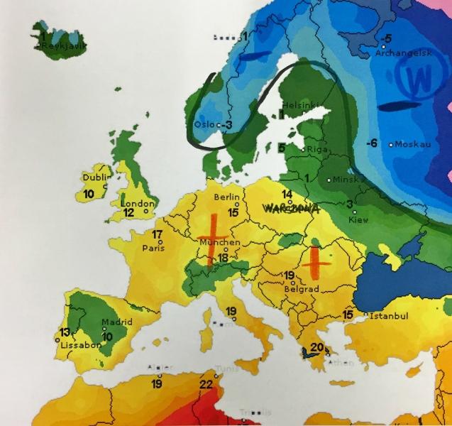 Temperatura powietrza nad Europą