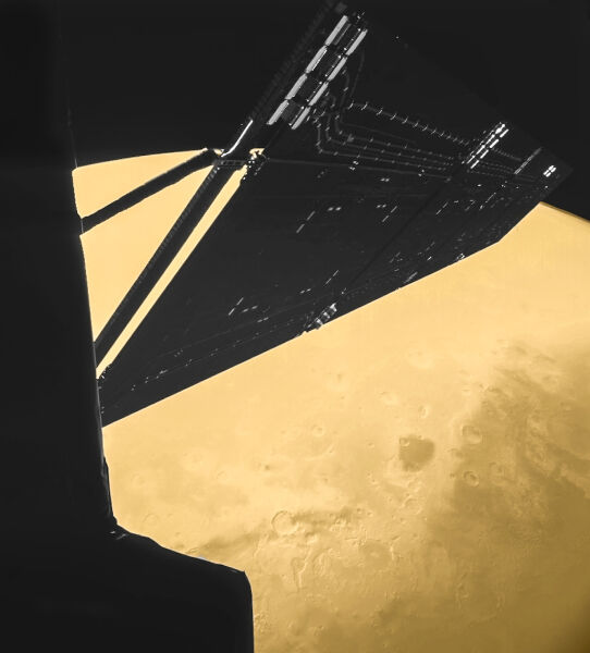 W chwili zwolnienia migawki Rosettę od powierzchni Marsa dzieliło ją zaledwie 1000 km