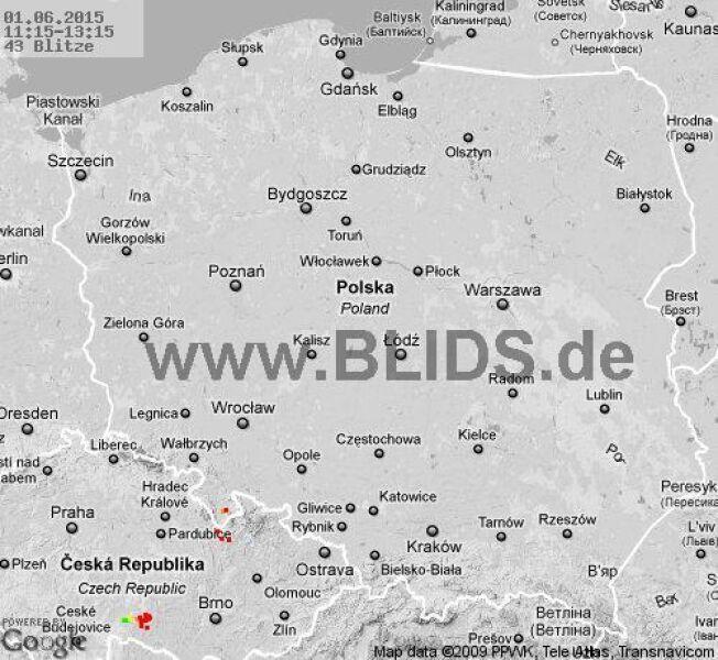 Wyładowania atmosferyczne na terenie Polski w godz. 11.15-13.15 (blids.de)