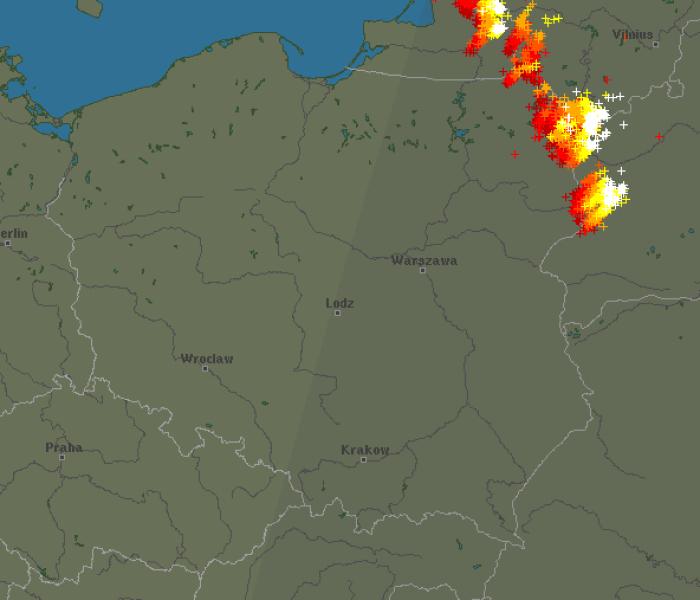 Burze w Polsce, sobota godzina 19.30 (blitzortung.org)